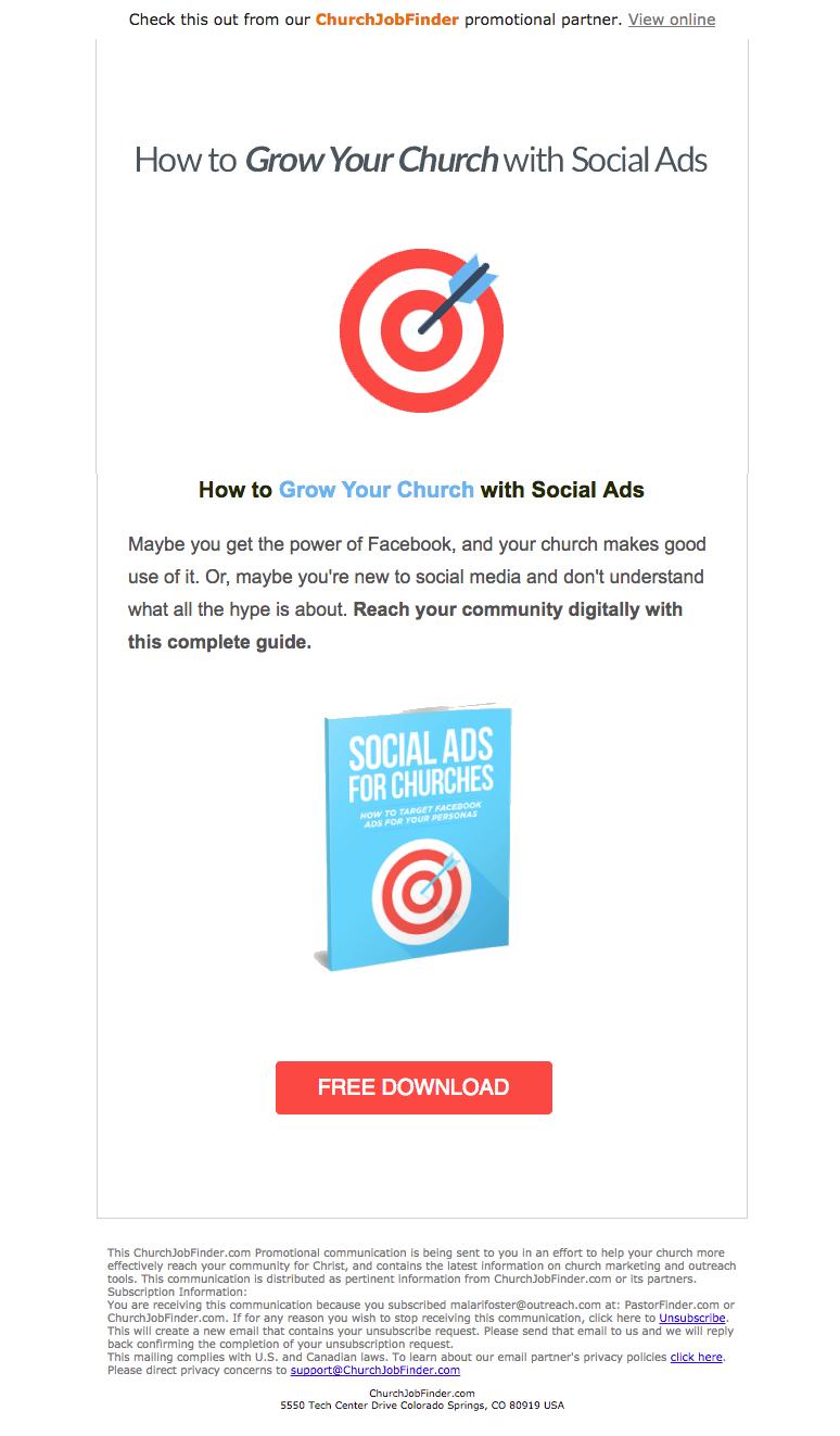 ChurchJobFinder Email