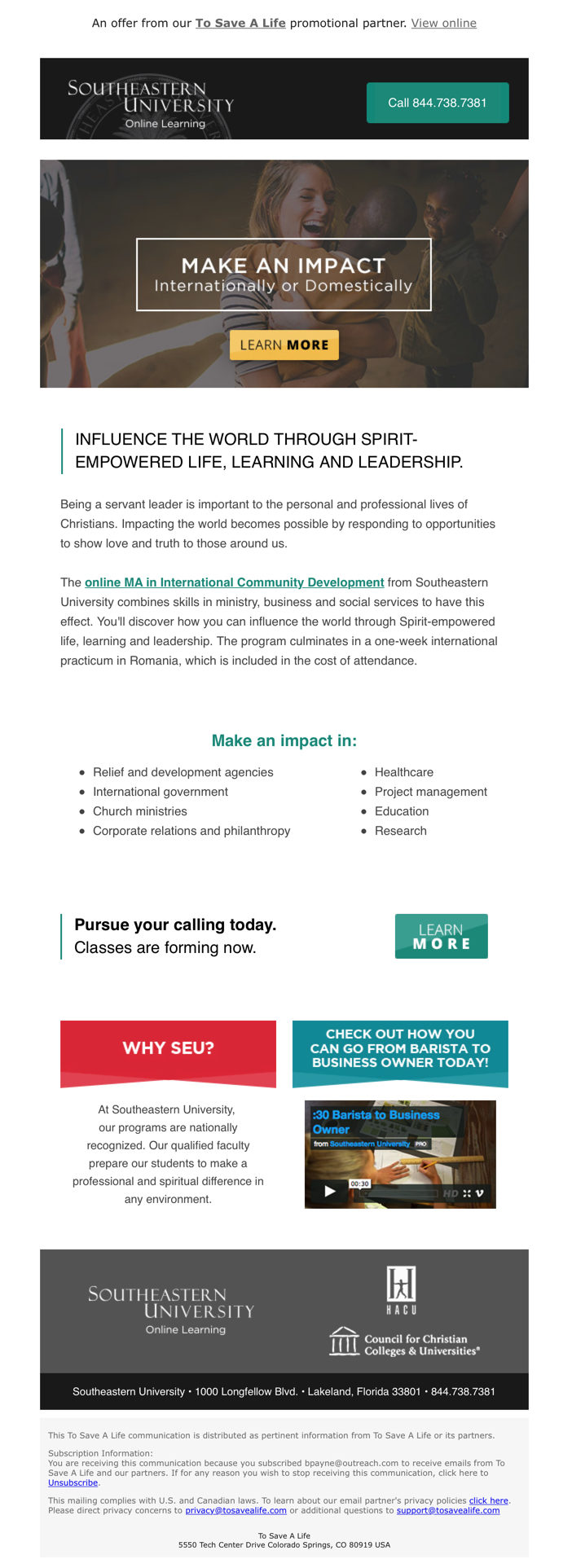 ToSaveALife Email