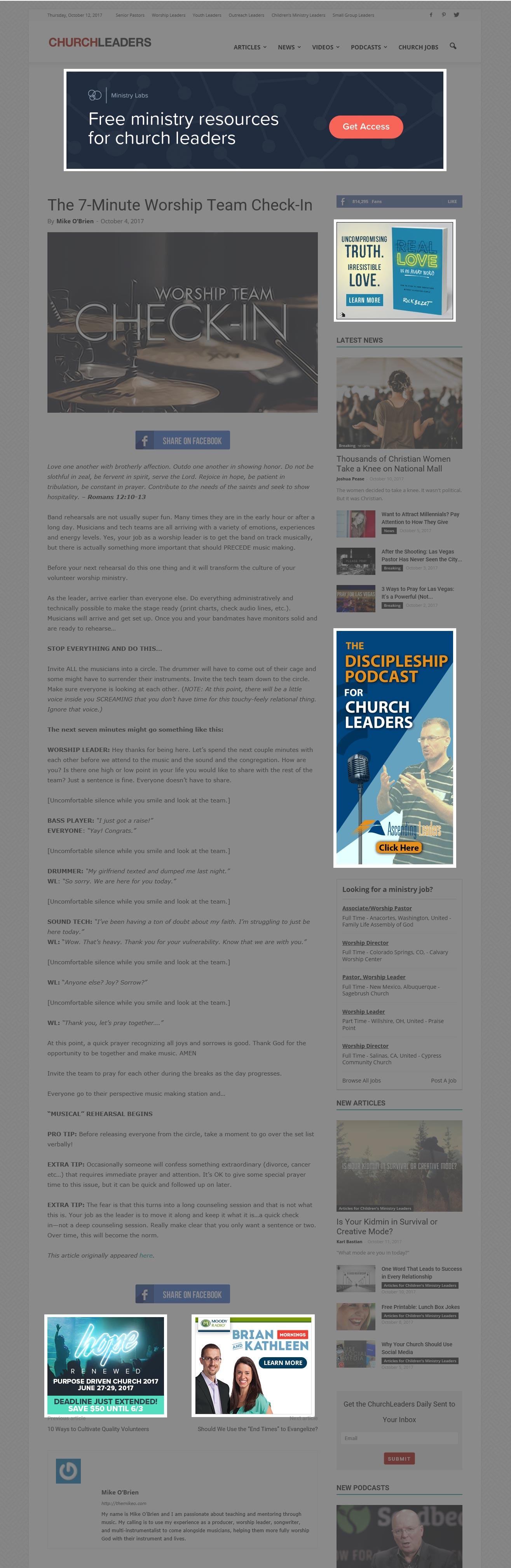 CL Worship Leaders Online Display