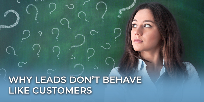 Why your leads don't behave like customers - girl thinking at chalkboard